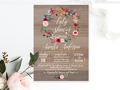 Baby Shower Invitation Wood Rustic